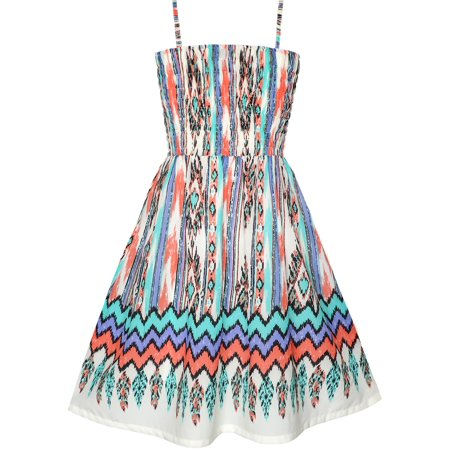 Girls Dress Tank Smocked Stripe Wave Print Summer Sundress
