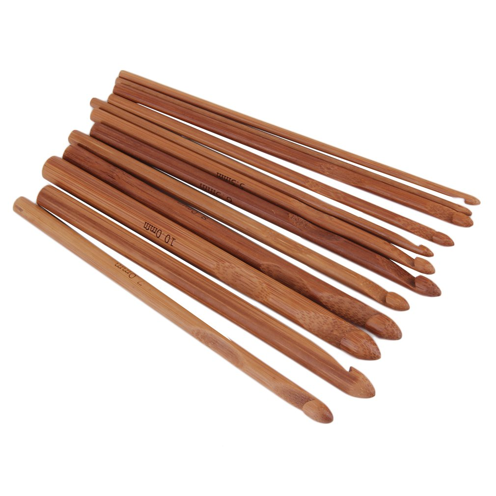 12 Sizes /set Handle Crochet Hook Bamboo Knitting Knit Needle Weave Yarn Set Crafts Yarn Tools hot search, log color