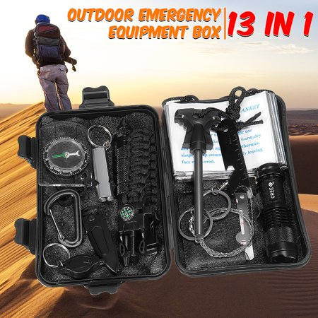 13 in 1 Outdoor SOS Survival Kit Multi-Purpose Emergency Equipment Supplies First Aid Survival Gear Tool Tactics Kits Set Package Box for Outdoor Travel Hiking Camping Biking (Emergency Survival Kit)