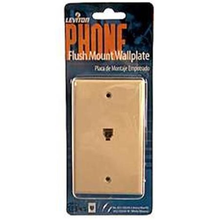 leviton c0249-w one piece flush mount phone jack wall plate, white