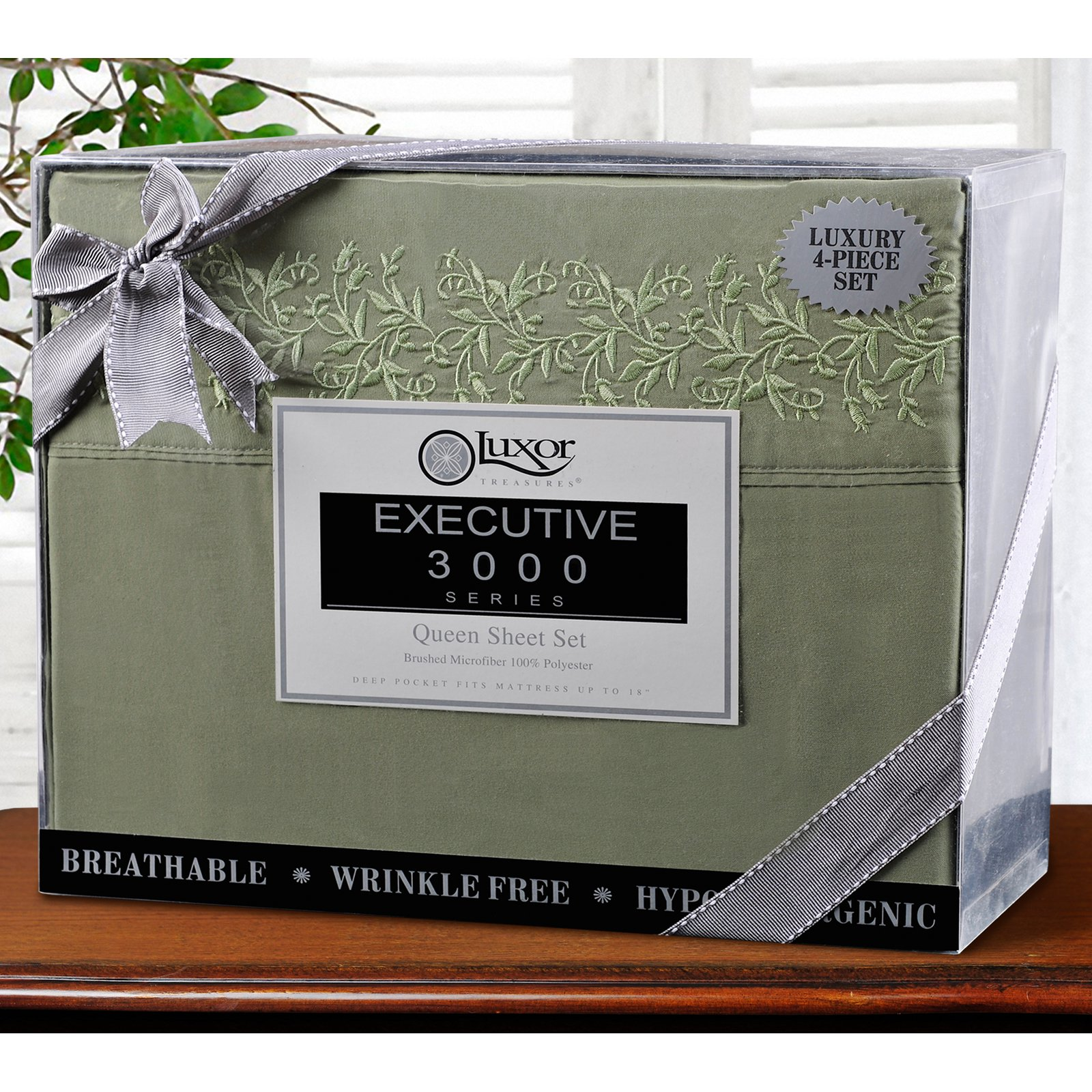 Superior Light Weight and Super Soft Brushed Microfiber, Wrinkle Resistant Sheet Set with Floral Lace Embroidery
