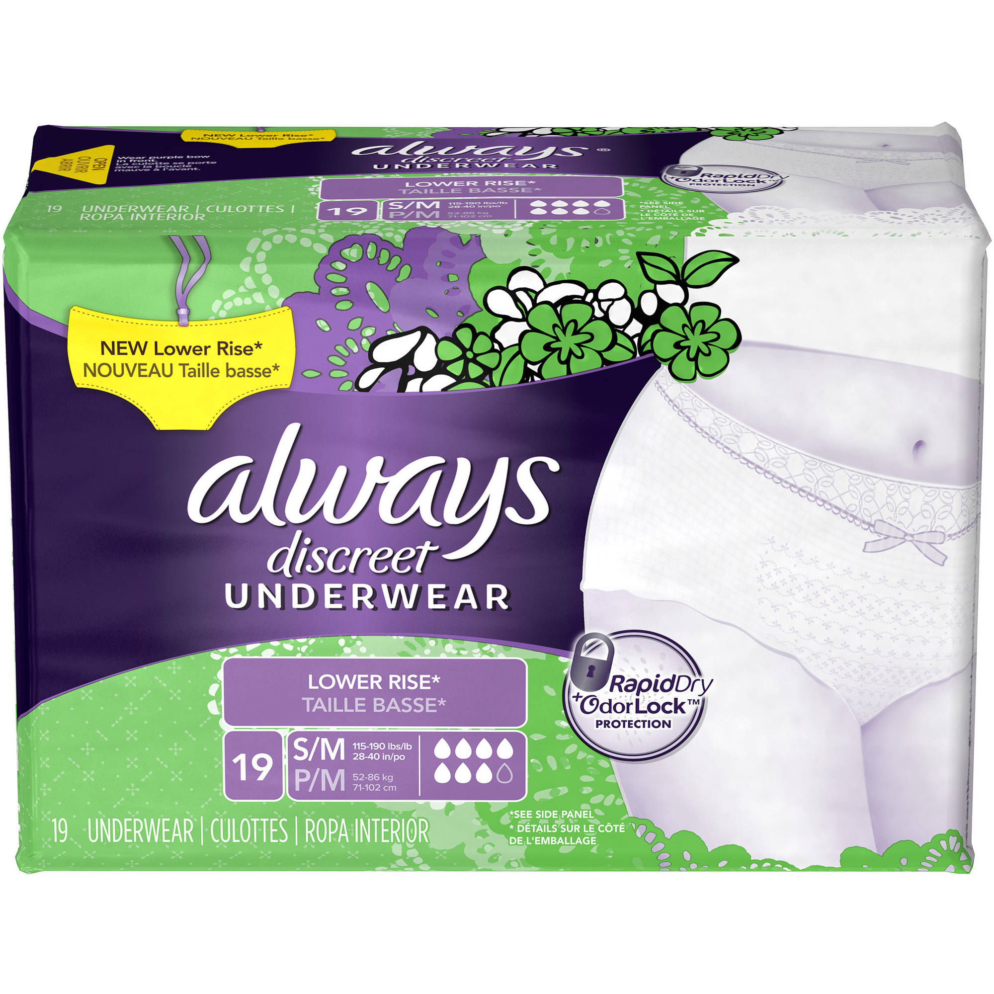 Always Discreet Incontinence Underwear, Lower Rise, Small/Medium, 19 count