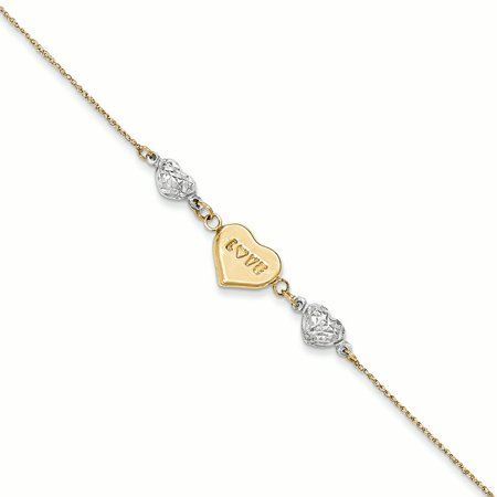 14K White And Yellow Gold Puffed LOVE Heart and Diamond-cuts Hearts Bracelet, 7