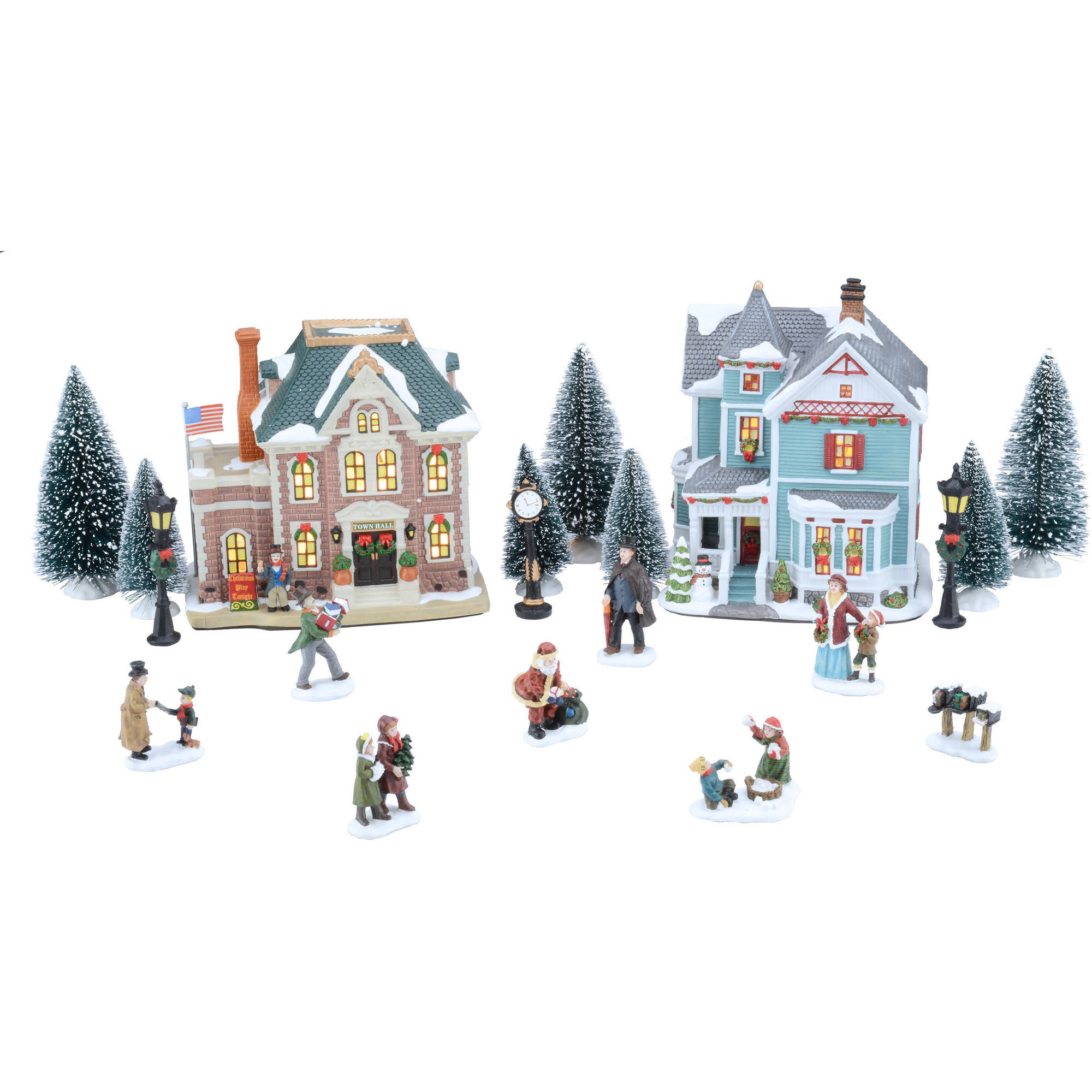 holiday time 20 piece village set christmas village walmart comholiday time 20 piece village set christmas village