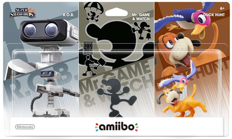 Nintendo Amiibo Retro Mini Figure 3-Pack [R.O.B., Mr. Game & Watch & Duck Hunt] by Nintendo