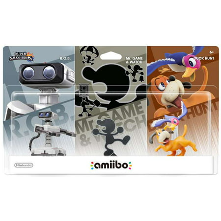 Nintendo Amiibo Retro Mini Figure 3-Pack [R O B , Mr  Game & Watch & Duck  Hunt]