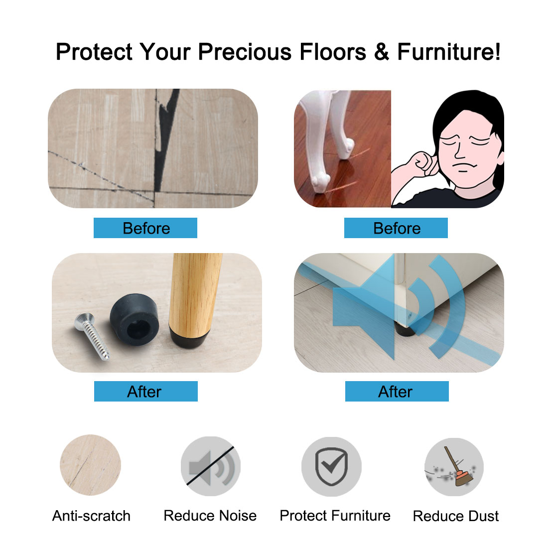 20pcs Rubber Feet Bumper Furniture Floor Protector Pad with Screws, D20x11xH8mm - image 3 of 7