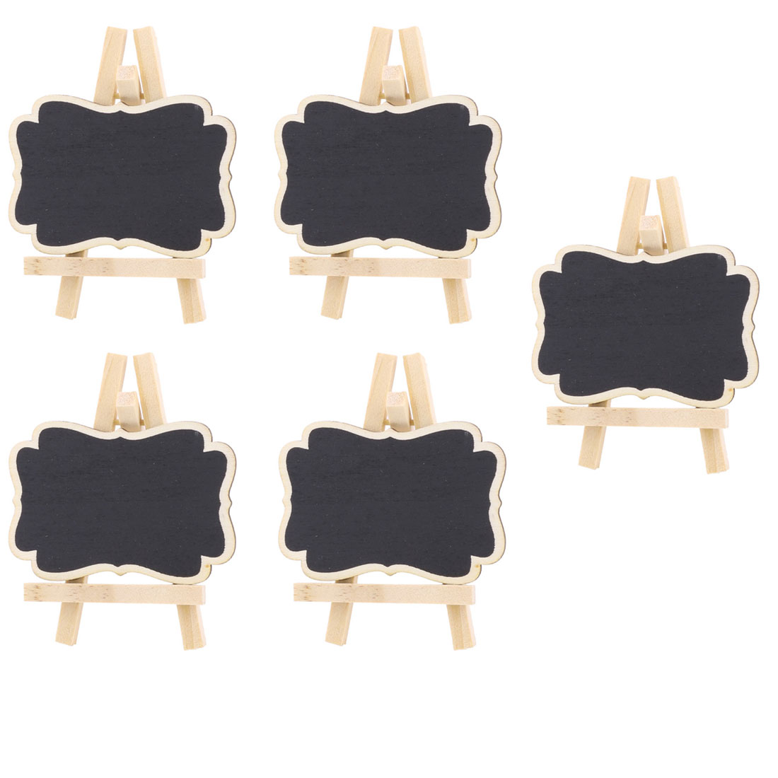 Wedding Wood Table Desktop Ornament Place Card Blackboard Chalkboard Black 5 Pcs