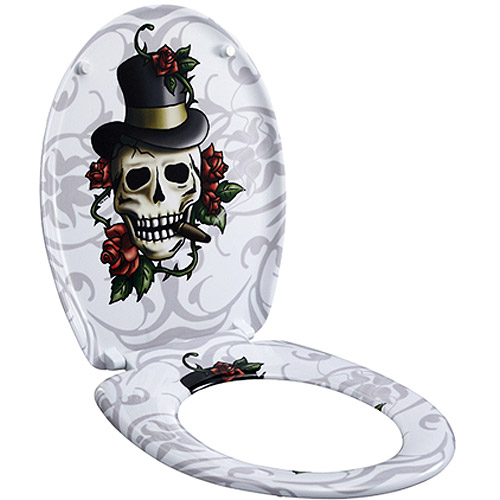 Designer Toilet Seat, Skulls and Roses
