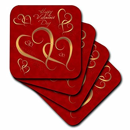 3dRose Golden Hearts entwined on a mottled red background with Happy Valentines Day, Soft Coasters, set of 8