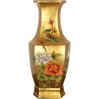 "14"" Gold Hexagonal Vase"