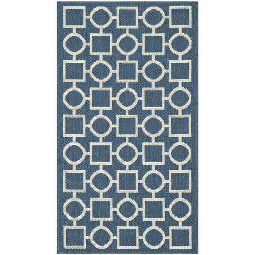 Safavieh Courtyard Navy/Beige Outdoor Rug