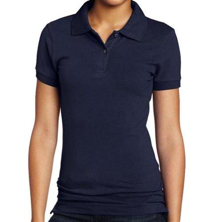 - Lee Uniforms Girls 7-16 Short-Sleeve Stretch Pique Polo (Navy Medium)