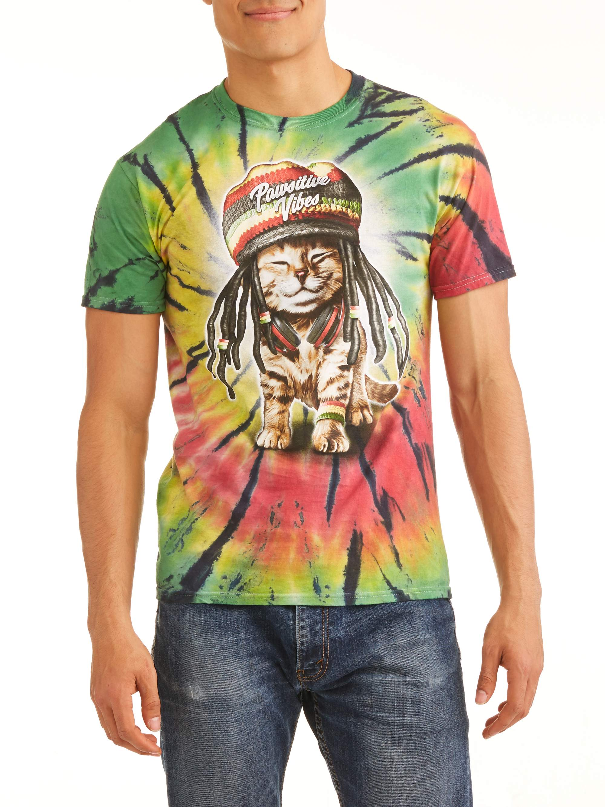 Men's Pawsitive Vibes Rasta Cat Short Sleeve Graphic T-Shirt, up to Size 3XL