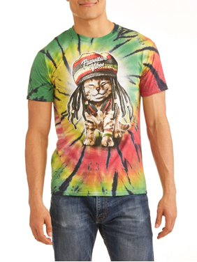 f8932e65e7c Product Image Men s Pawsitive Vibes Rasta Cat Short Sleeve Graphic T-Shirt