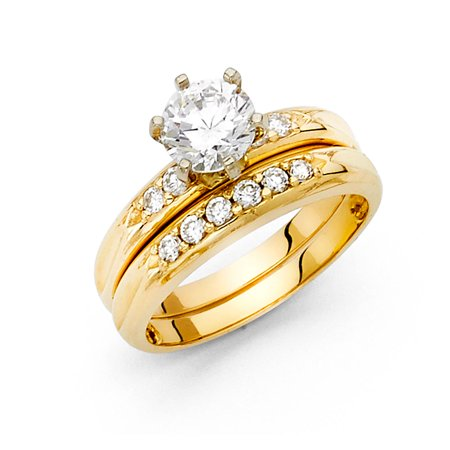 Illusion Set Solitaire Ring (CZ Solitaire Engagement Ring & Wedding Band 14k Yellow Gold Bridal Rings Set Round CZ Side Stone Size 5.5 )