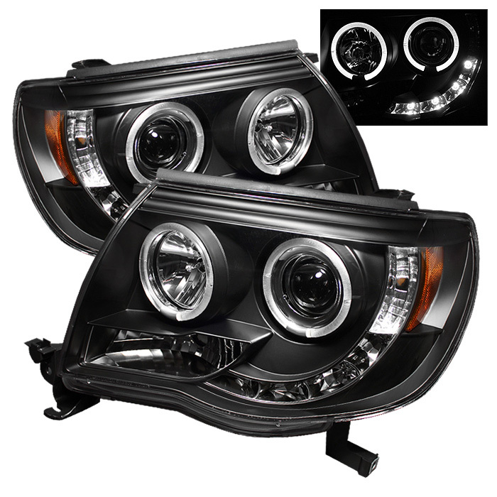 Spyder Toyota Tacoma 05-11 Projector Headlights - LED Halo - LED ( Replaceable LEDs ) - Black - High H1 (Included) - Low H1 (Included)