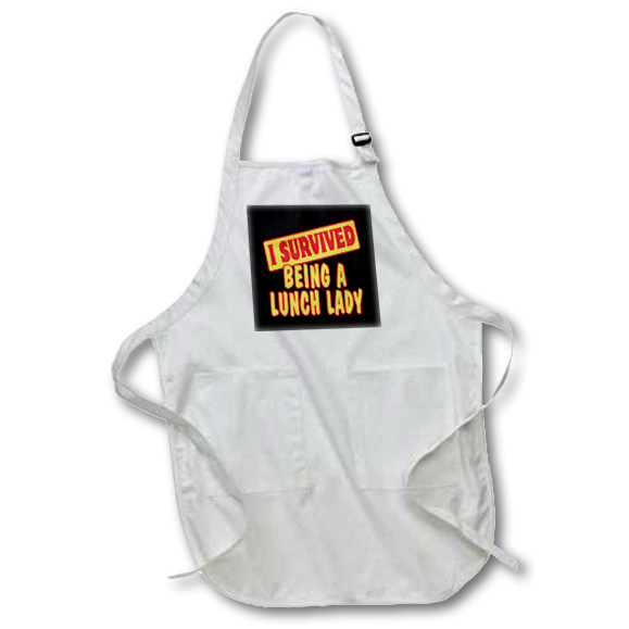 3dRose I Survived Being A Lunch Lady Survial Pride And Humor Design, Full Length Apron, 22 by 30-inch, White, With Pockets