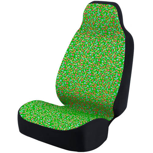 Coverking Universal Seat Cover Fashion Print, Ultra Suede, Vivid Flowers Pink and Blue and Green Background with Black Interlock Backing