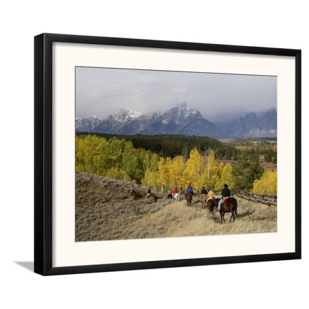 Tourists Enjoying Horseback Riding, Grand Teton National Pa... Framed Art Print Wall Art