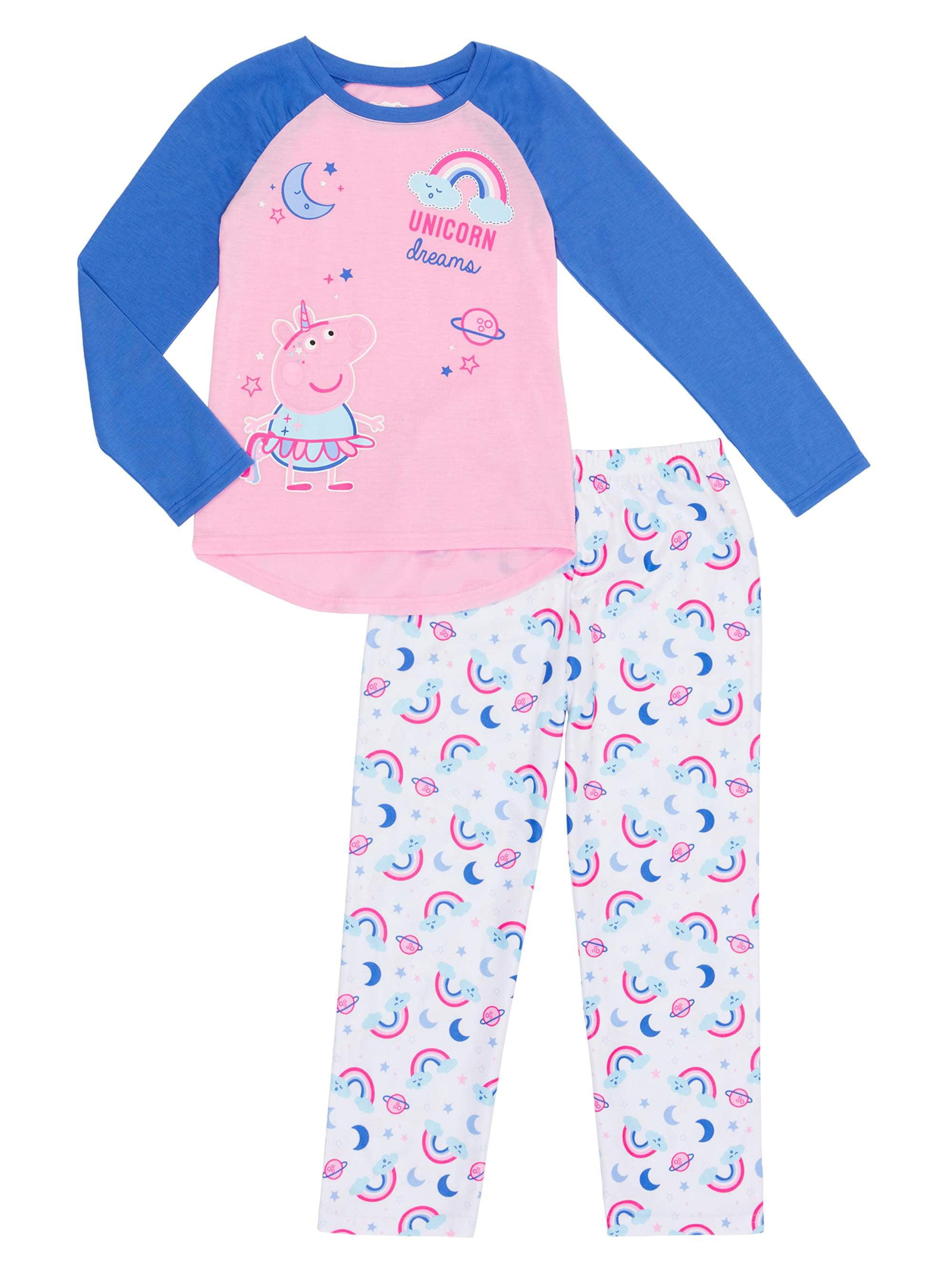 Peppa Pig Girls Toddlers Magical Unicorn Pink Long Sleeve All In One Pyjamas PJs