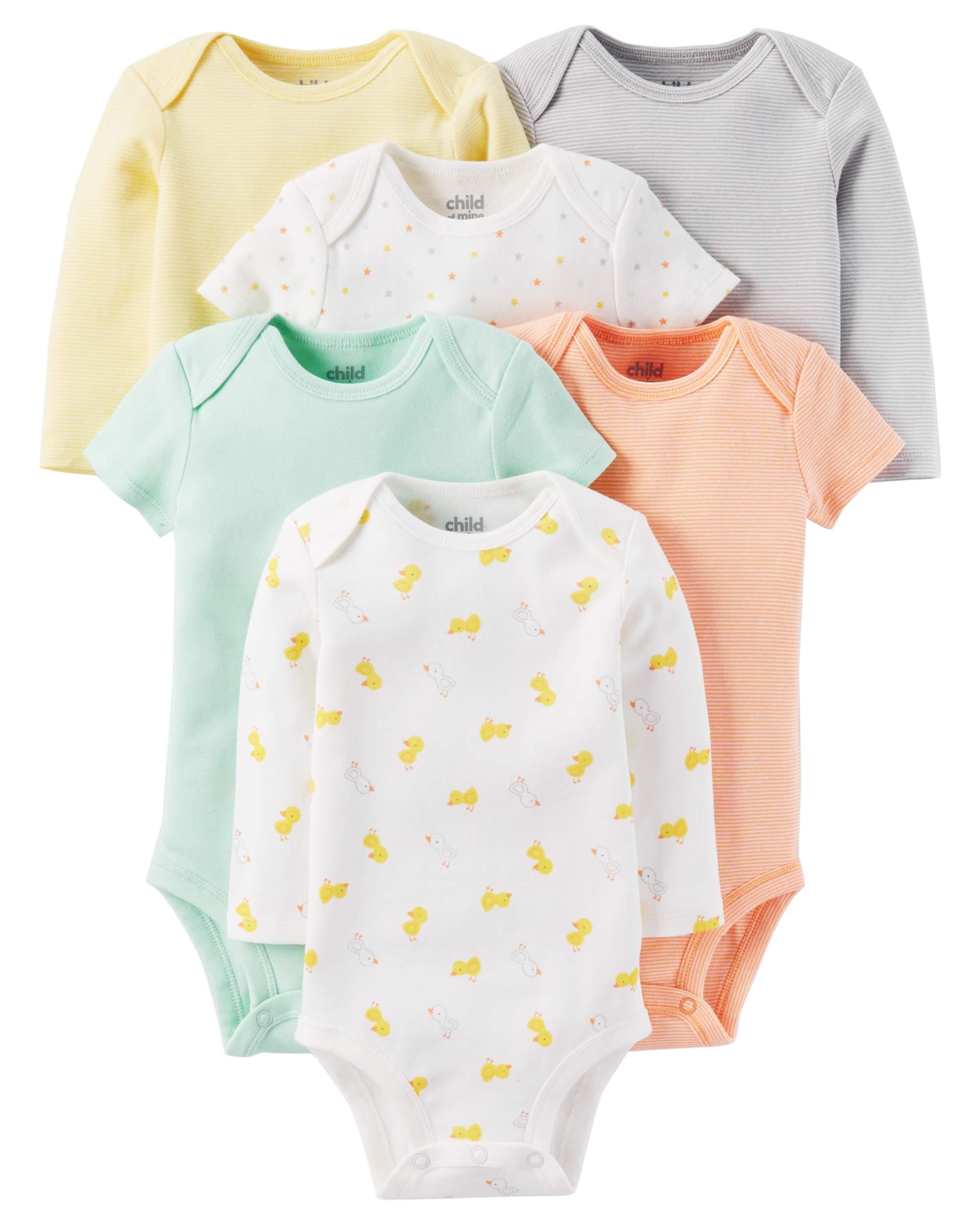 Newborn Baby Neutral Short and Longsleeve Bodysuit Set 6-Pieces