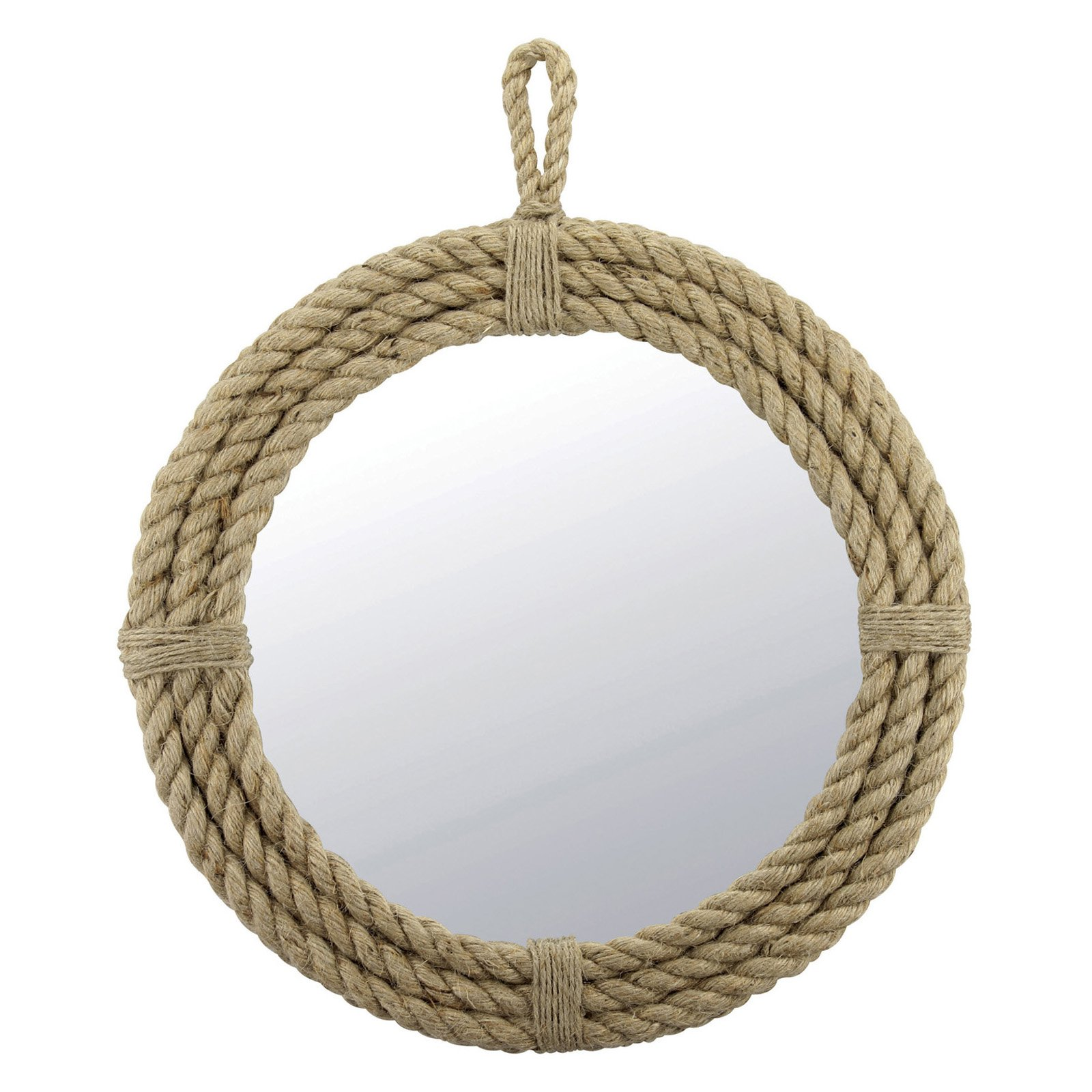 Hanging Rope Wrapped Round Mirror by Generic
