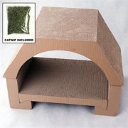 Paw Essentials MJ005 House Shaped Cardboard Cat Scratching / House for Scratching and Resting with Catnip 19*13.8*11 in