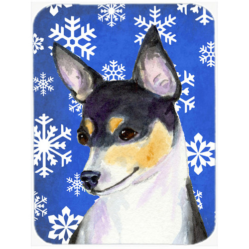 Caroline's Treasures Snowflakes Chihuahua Glass Cutting Board