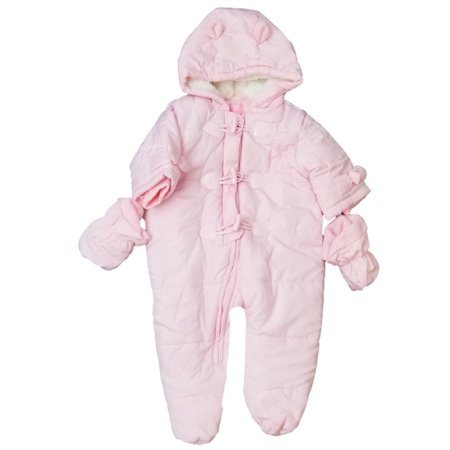 Pink Baby Prams - Infant Baby Girls Pink Plush Quilted Snowsuit Baby Pram Snow Suit 3-6M