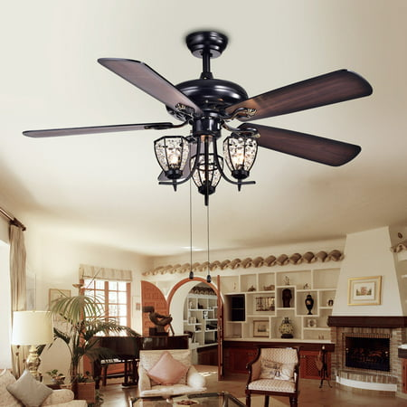 Mirabelle 3-light 5-blade 52-inch Black Metal and Crystal Lighted Ceiling Fan (Optional Remote) Black 5 Blade Ceiling Fan