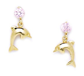 14k Yellow Gold Pink Cubic Zirconia Dolphin Drop Screw-Back Earrings Measures 13x7mm by