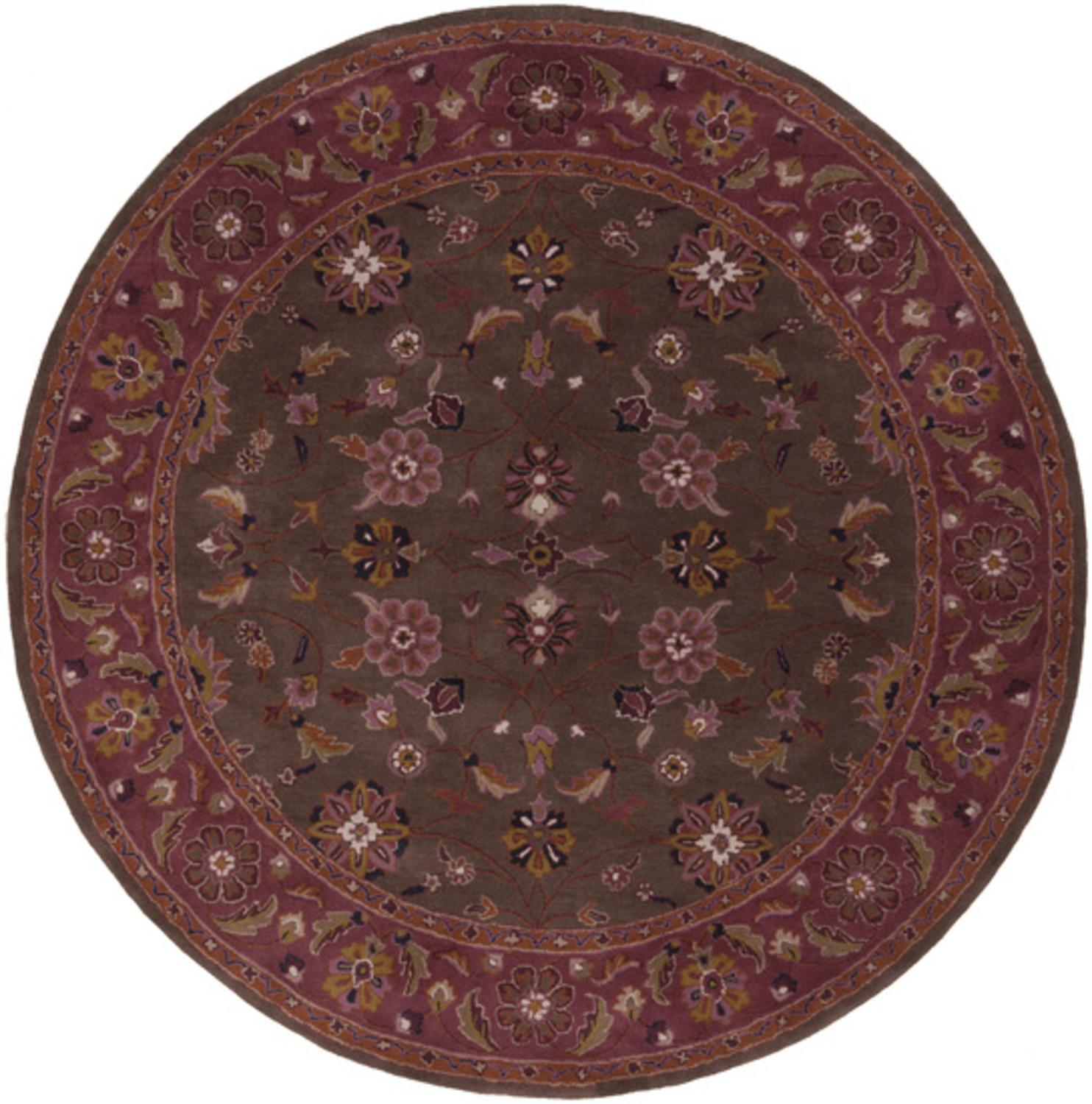 8' Protipo Floral Chocolate Brown and Violet Quartz Round Hand Tufted Wool Area Throw Rug