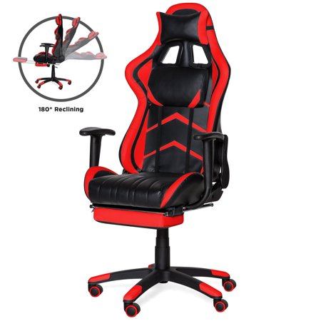 Best Choice Products Ergonomic High Back Executive Office Computer Racing Gaming Chair w/ 360-Degree Swivel, 180-Degree Reclining, Footrest, Adjustable Armrests, Headrest, Lumbar Support - Red