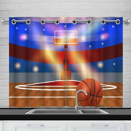 YUSDECOR Basketball Court Window Curtain Kitchen Curtains Window Treatments 26x39 inch,Set of 2 - image 2 de 2