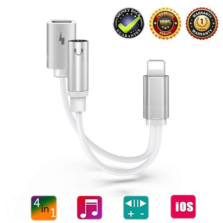 Headphone Lightning Adapter Jack Audio Charger Dongle Female Earphone Jack【Audio+Call+Remote+Charge】Headphone Dock Cord Headset Spliter for iPhone X/XS/7/7P/X/8/8P/, Support All iOS,M10046