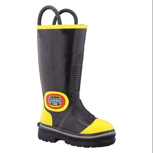 COSMAS JAVA E790090R-070 Bunker Boot,Rubber,Black/Yellow,7R,PR G0187735