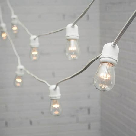 commercial string lights commercial led edison string lights 100 ft white wire s14 bulb warm. Black Bedroom Furniture Sets. Home Design Ideas