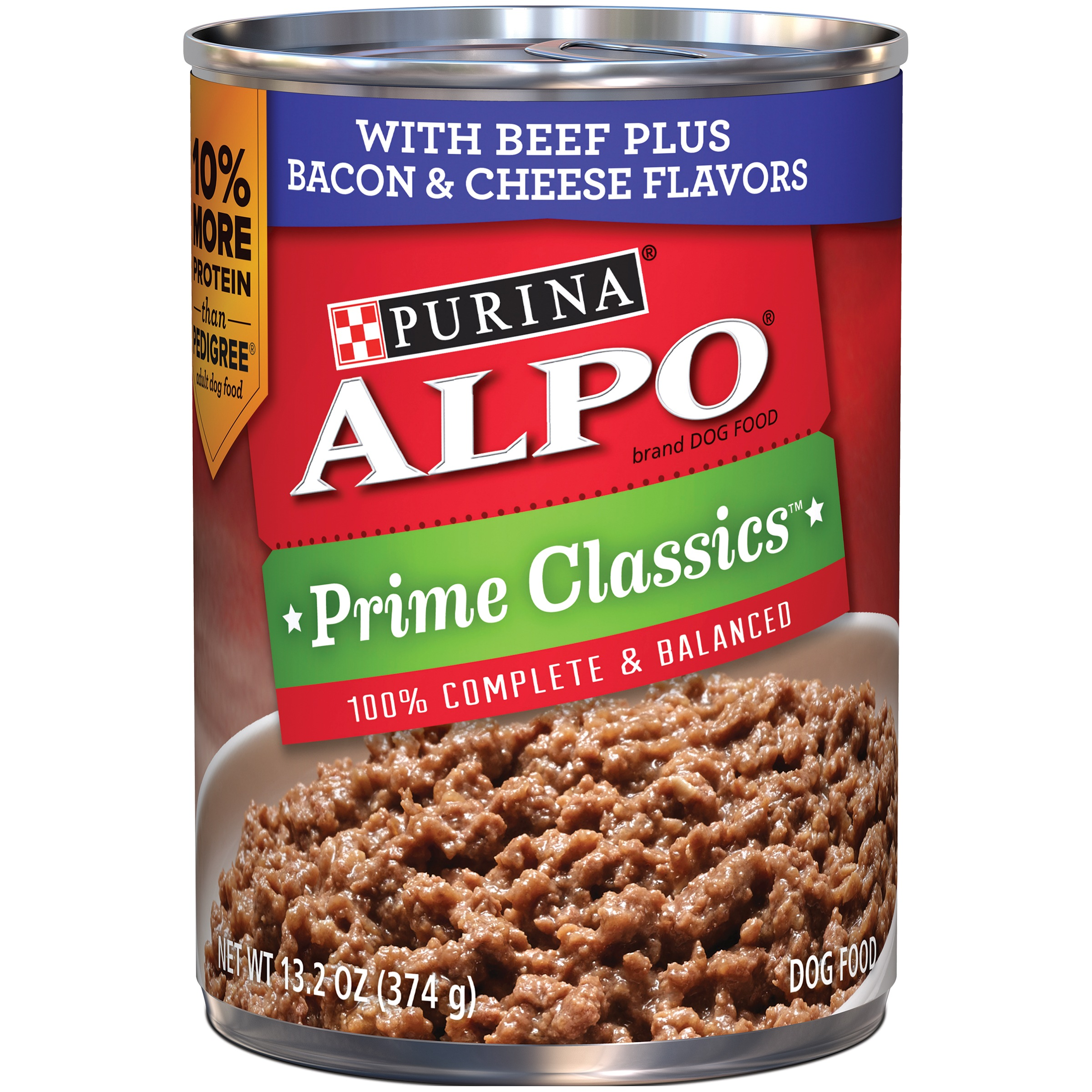 Purina ALPO Prime Classics with Beef Plus Bacon & Cheese Flavors Wet Dog Food, 13.2 Oz.