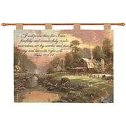 "Thomas Kinkade ""River Bend at Dusk"" Pictorial Versed Wall Art Hanging Tapestry 26"" x 36"""
