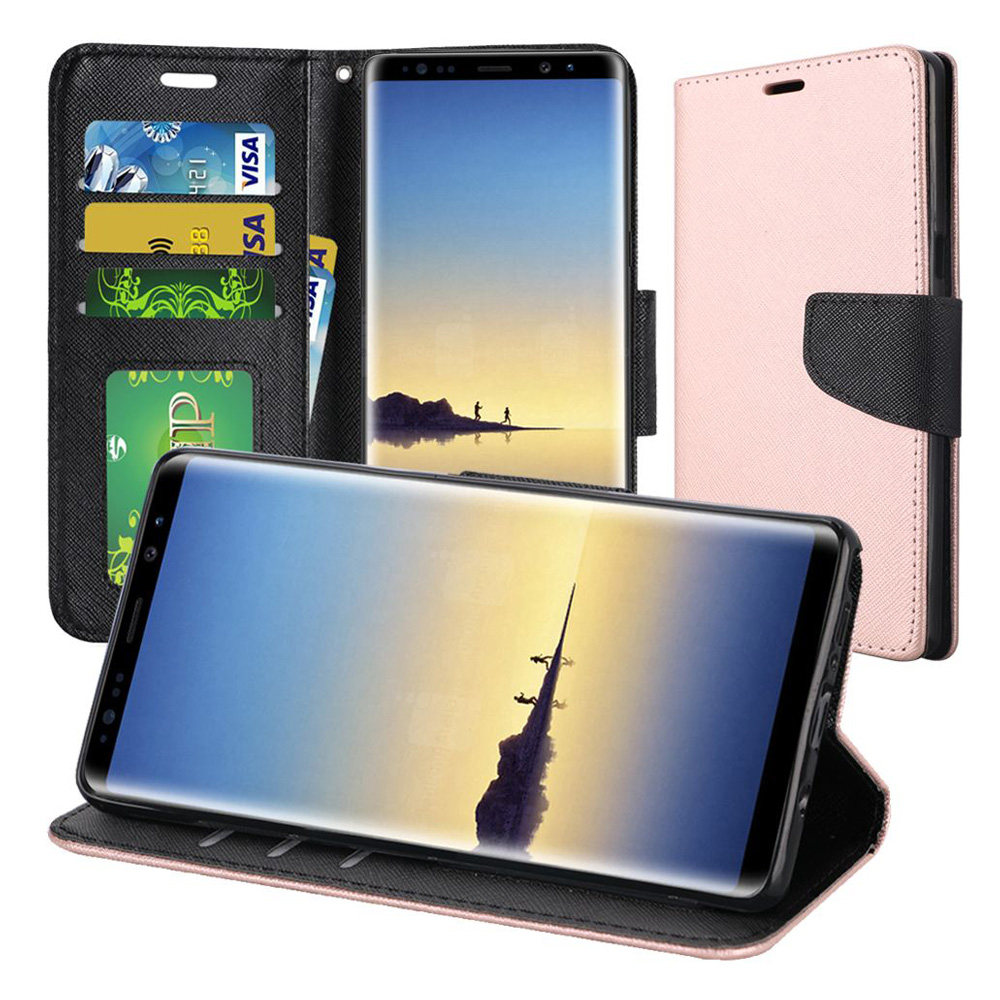 Samsung Galaxy Note 8 Case, Premium Stylish Wallet Flip Pouch Stand Cover Case Protective Hard Back Cover (Anti Scratch, Dustproof, Impactproof) For Samsung Galaxy Note 8 SM-N950U - Rose Gold