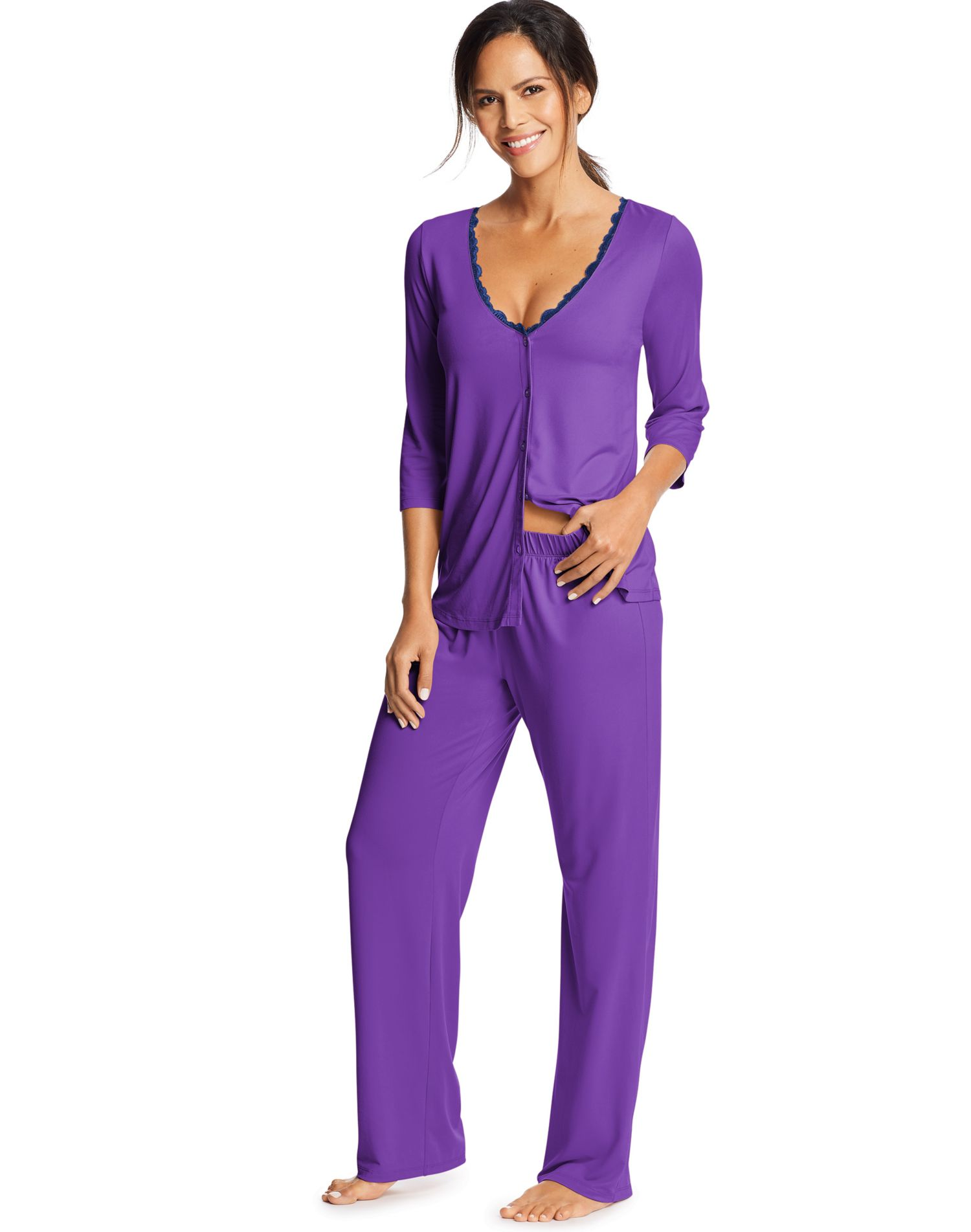 72ba620204f7 Maidenform Womens Lace Trim Knit PJ Set