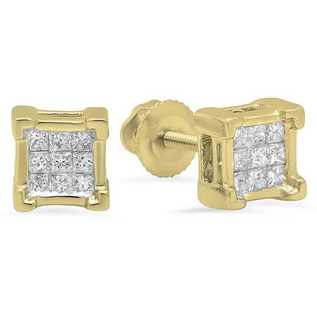 0.49 Ct Princess Shape - 0.25 Carat (ctw) 18K Yellow Gold Princess Cut White Diamond Ladies Square Shape Stud Earrings 1/4 CT