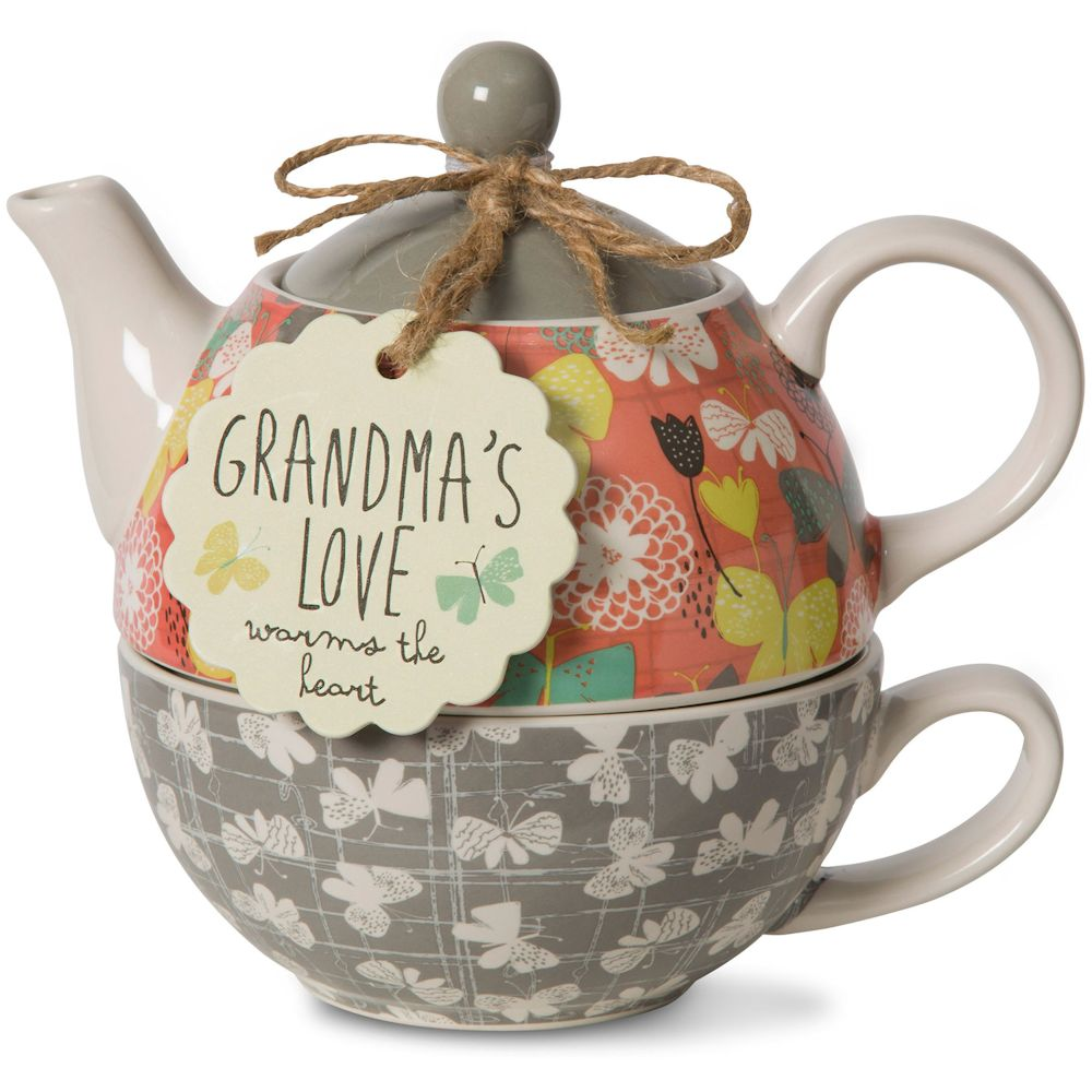 Pavilion Gift Company Bloom by Amylee Weeks 74071 Grandma - Teapot and Cup Combo