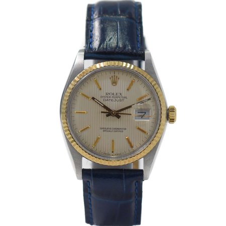 Rolex Datejust 16013 Silver Tapestry Stick dial and 18kt Yellow Gold Fluted Bezel (Certified (Best Way To Own Gold And Silver)