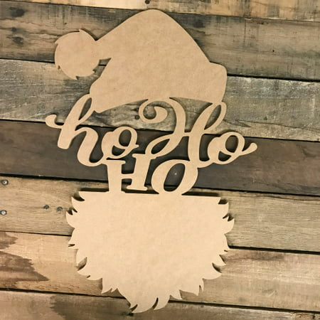 Ho Ho Ho Santa Head Wood DIY (MDF) Cutout - Unfinished DIY Craft](Santa Cutouts)