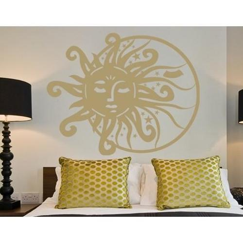 Sun & Moon Wall Decal 31in x 25in Dark red