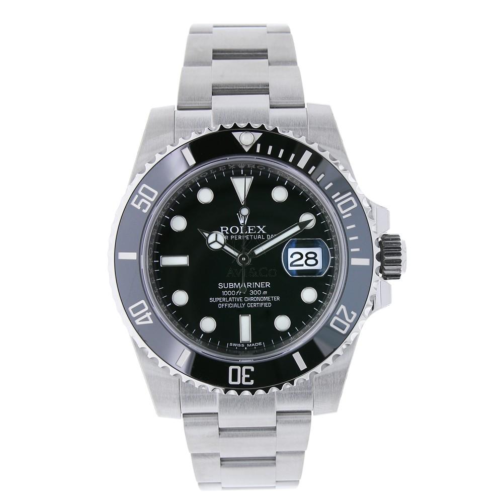 Rolex Submariner Date Stainless Steel Watch Black Ceramic Bezel 116610