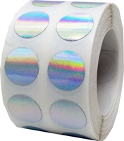 Silver Holographic Circle Dot Stickers, 1/2 Inch Round, 1000 Labels on a Roll