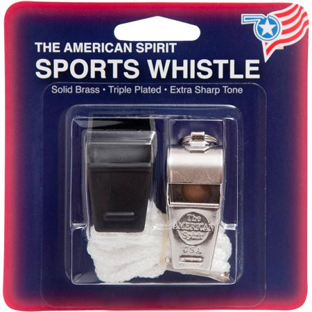 American Spirit Solid Brass Sports Whistle and Lanyard - Bulk Whistles